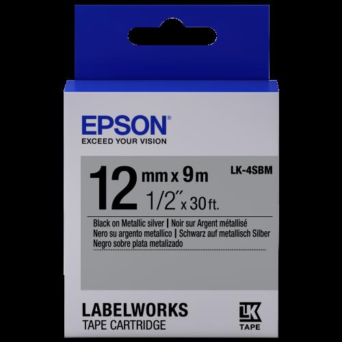 เทปพิมพ์ฉลาก Epson LK-4SBM 12 mm อักษรดำบนพื้นเงิน (9m)